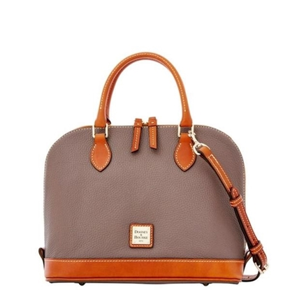 Picture of Pebble Grain Zip Zip Satchel - Elephant