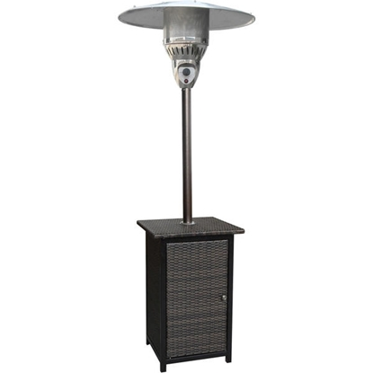 Picture of 7-Ft. 41,000 BTU Square Wicker Propane Patio Heater - Brown/Hammered Bronze