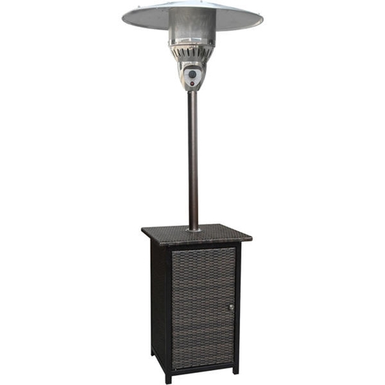 Picture of Hanover 7-Ft. 41,000 BTU Square Wicker Propane Patio Heater - Brown/Hammered Bronze