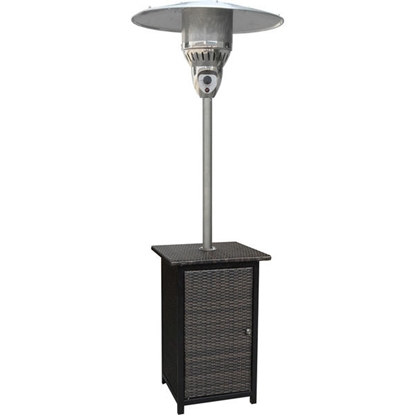 Picture of 7-Ft. 41,000 BTU Square Wicker Propane Patio Heater - Brown/Stainless Steel