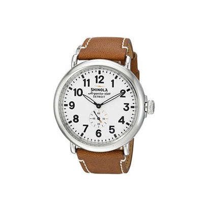 Picture of Men's Runwell White Watch with Brown Leather Strap