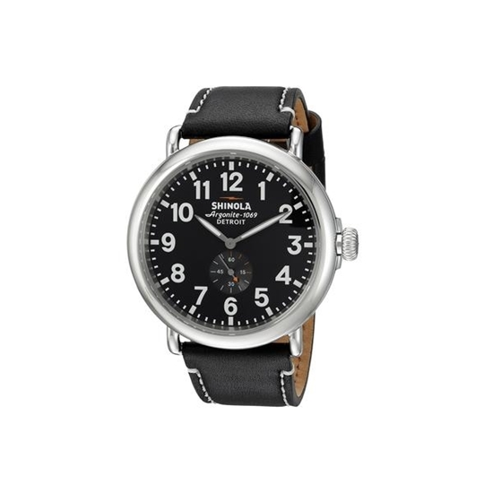 Picture of Shinola Men's Runwell Black Watch with Black Leather Strap, 47mm