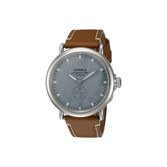 Picture of Shinola Men's Runwell Blue Watch with Brown Leather Strap - 41mm