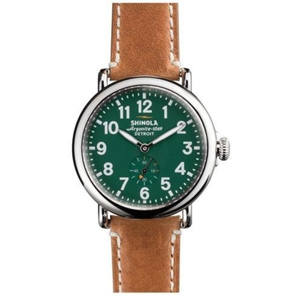 Picture of Shinola Men's Runwell Green Watch with Brown Leather Strap, 41mm