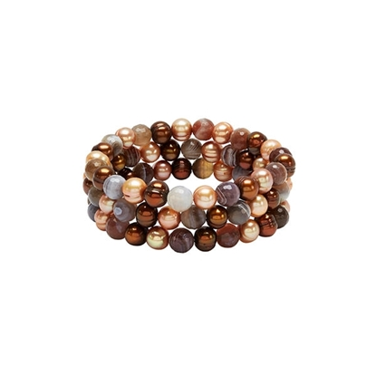 Picture of 3-Strand Chocolate Pearl Bracelet