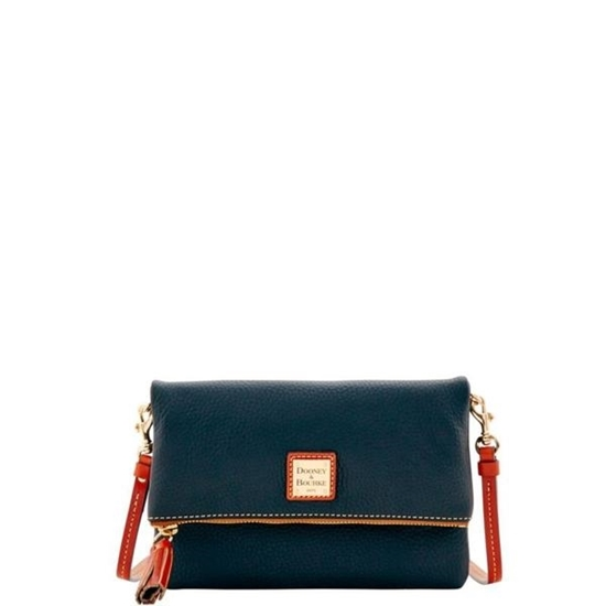 Picture of Dooney & Bourke™ Pebble Grain Foldover Zip Crossbody - Black