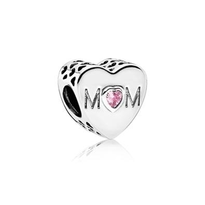 Picture of Pandora® Mother Heart Charm, Pink CZ