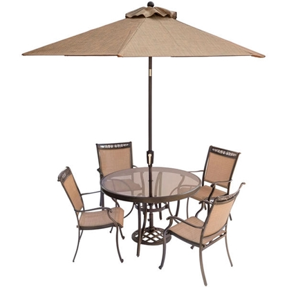 Picture of Fontana 5-Piece Dining Set with Four Stationary Dining Chairs, a 48 In. Glass-Top Dining Table, a 9 Ft. Umbrella and Stand