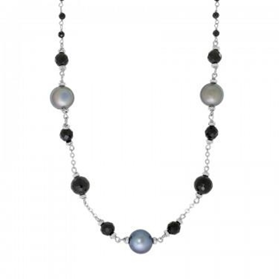 Picture of Peacock Pearl & Black Spinel Tin Cup Necklace