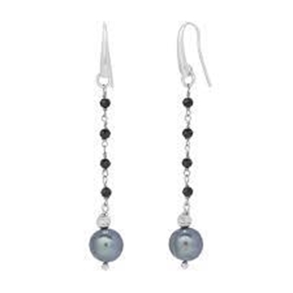 Picture of Peacock Pearl & Black Spinel Drop Earrings