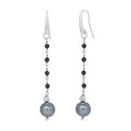 Picture of Honora Peacock Pearl & Black Spinel Drop Earrings