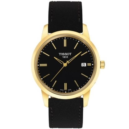 Picture of Tissot Classic Dream Black Leather Watch with Gold-Tone Case