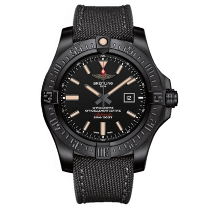 Picture of Breitling Avenger Blackbird with Black Dial & Military Strap