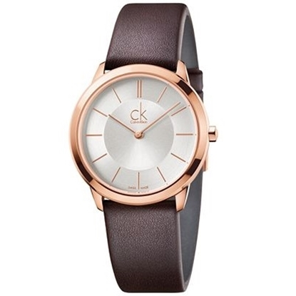 Picture of Calvin Klein Minimal Ladies Watch- Rose w/ Brown Leather Strap
