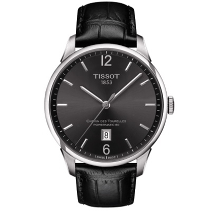 Picture of Tissot CDT Powermatic 80 Black Leather Watch with Numeral Dial