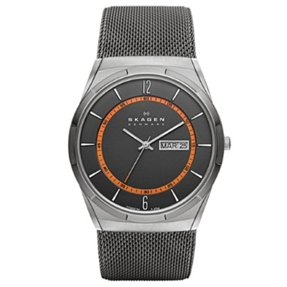 Picture of Skagen Titanium Mesh Watch with Orange Accents