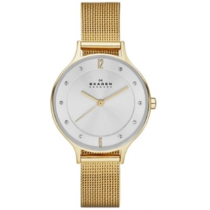 Picture of Skagen Anita Gold Steel Mesh Watch with Silver Dial