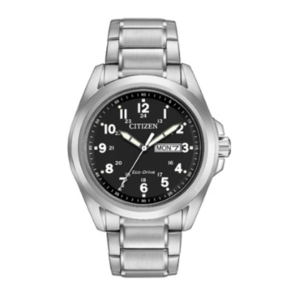 Picture of Citizen Men's Sport Silver-Tone Watch with Black Dial