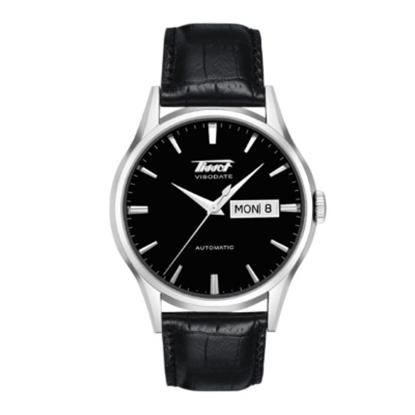 Picture of Tissot Vissodate Men's Black Leather Strap Watch w/ Black Dial