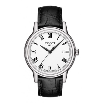 Picture of Tissot Carson Quartz Men's Black Leather Watch with White Dial