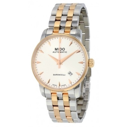 Picture of Mido Baroncelli II Auto Two-Tone Watch with Silver Dial
