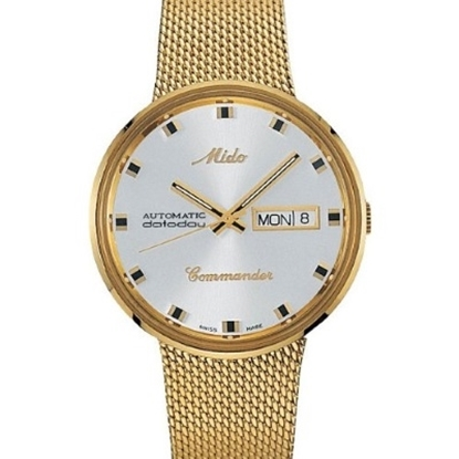 Picture of Mido Commander Auto Yellow Gold Mesh Bracelet with White Dial