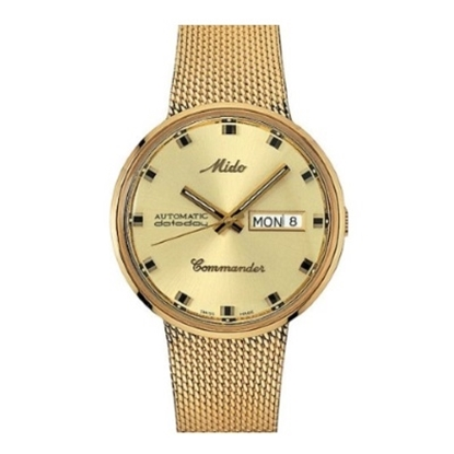 Picture of Mido Commander Auto with Yellow Gold Steel Mesh Bracelet