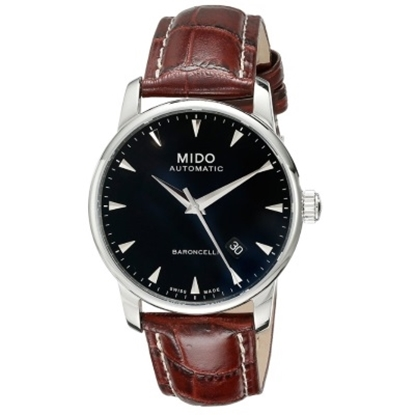 Picture of Mido Baroncelli Auto with Brown Leather Strap & Black Dial