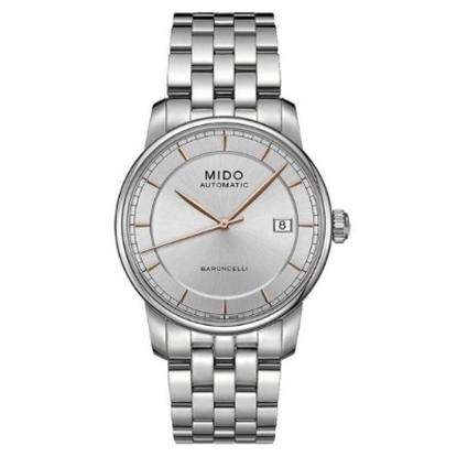 Picture of Mido Baroncelli Auto Stainless Steel Watch w/ White/Rose Dial