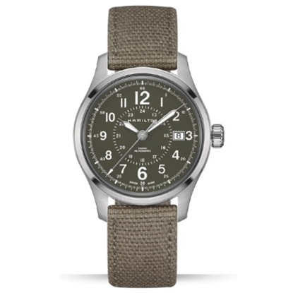 Picture of Hamilton Khaki Field Auto with Green Dial & Green Canvas Band