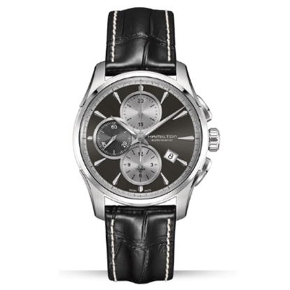 Picture of Hamilton Jazzmaster Auto Chrono with Black Leather Band