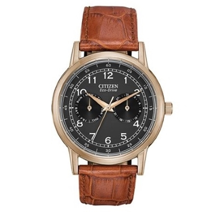 Picture of Citizen Eco-Drive Watch with Brown Leather Strap & Black Dial