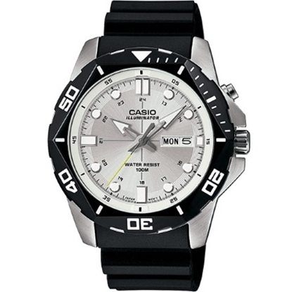 Picture of Casio Sports Men's Dive Watch with Black Band & Silver Dial