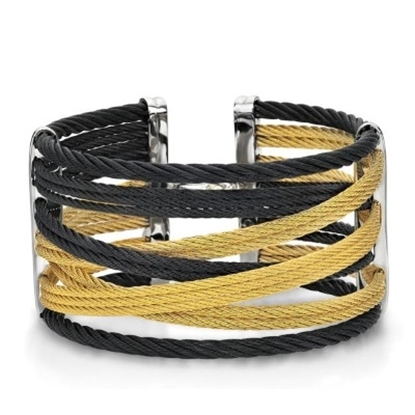 Picture of ALOR Noir 18K White & Black/Yellow Cable Bangle with Diamonds