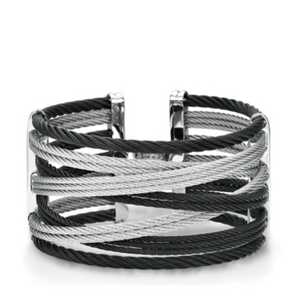 Picture of ALOR Noir 18K White Gold & Black/Grey Cable Bangle w/ Diamonds
