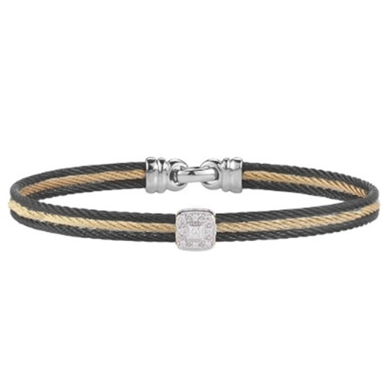 Picture of ALOR White Gold/Stainless Steel/Black & Yellow Cable Bangle