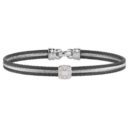 Picture of ALOR White Gold/Stainless Steel/Black & Grey Cable Bangle
