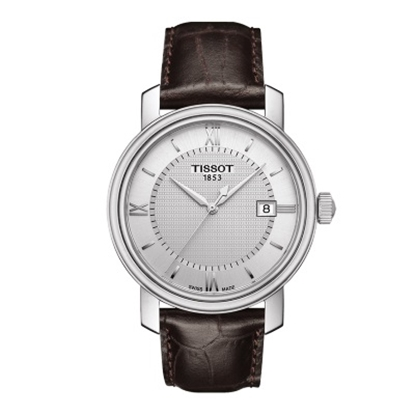 Picture of Tissot Bridgeport Quartz Gent Leather Watch w/ Silver Dial