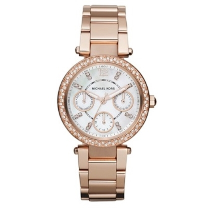 Picture of Michael Kors Parker Mini Rose Gold-Tone Glitz Watch