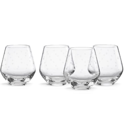 Picture of Kate Spade Larabee Dot Stemless Red Wine Glasses - Set of 4