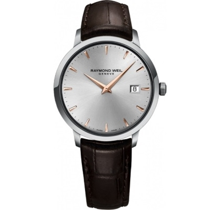 Picture of Raymond Weil Tocatta Silver/Rose Gold Watch with Brown Strap