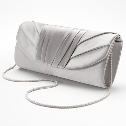 Picture of Jessica McClintock Tuxedo Flap Clutch - Silver