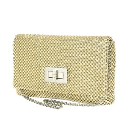 Picture of Jessica McClintock Ball Mesh Flap with Turn Lock - Light Gold