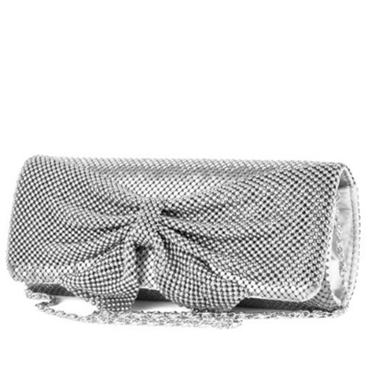 Picture of Jessica McClintock Mesh Flag Bag with Bow - Silver