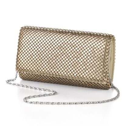 Picture of Jessica McClintock Metal Mesh Roll Bag - Light Gold