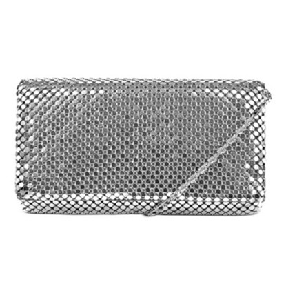 Picture of Jessica McClintock Metal Mesh Roll Bag - Silver