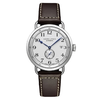 Picture of Hamilton Khaki Navy Pioneer Auto with Brown Leather Strap