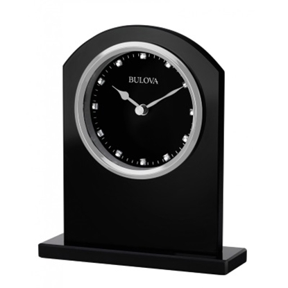 Picture of Bulova Ebony Crystal Clock - Ebony Glass/Silver