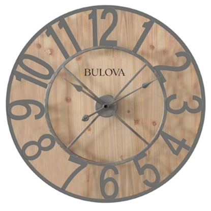 Picture of Bulova Silhouette Large Gallery Clock with Pine Finish