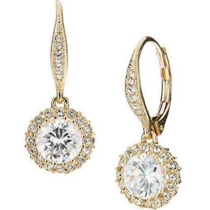 Picture of Nadri Framed Round Crystal Drop Leverback Earrings